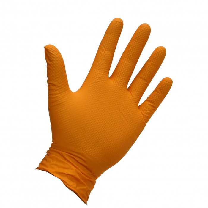 Orange nitrile glove